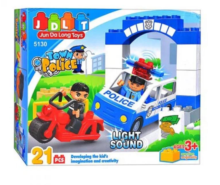 """Конструктор дитячий JDLT 5130 (аналог Lego Duplo) """"Міська поліція"""" 21 деталь зі світлом та звуком"""
