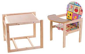 Стульчик-трансформер для кормления деревянный Печворк