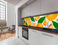 Стеновая панель с фотопечатью апельсины, цитрусы, в воде, белый фон на самоклеящейся пленке или ПВХ панель Самоклейка 60 х 250 см