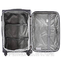 Комплект текстильных чемоданов на 4-х колесах Wings с расширителем, темно-серого цвета, фото 3