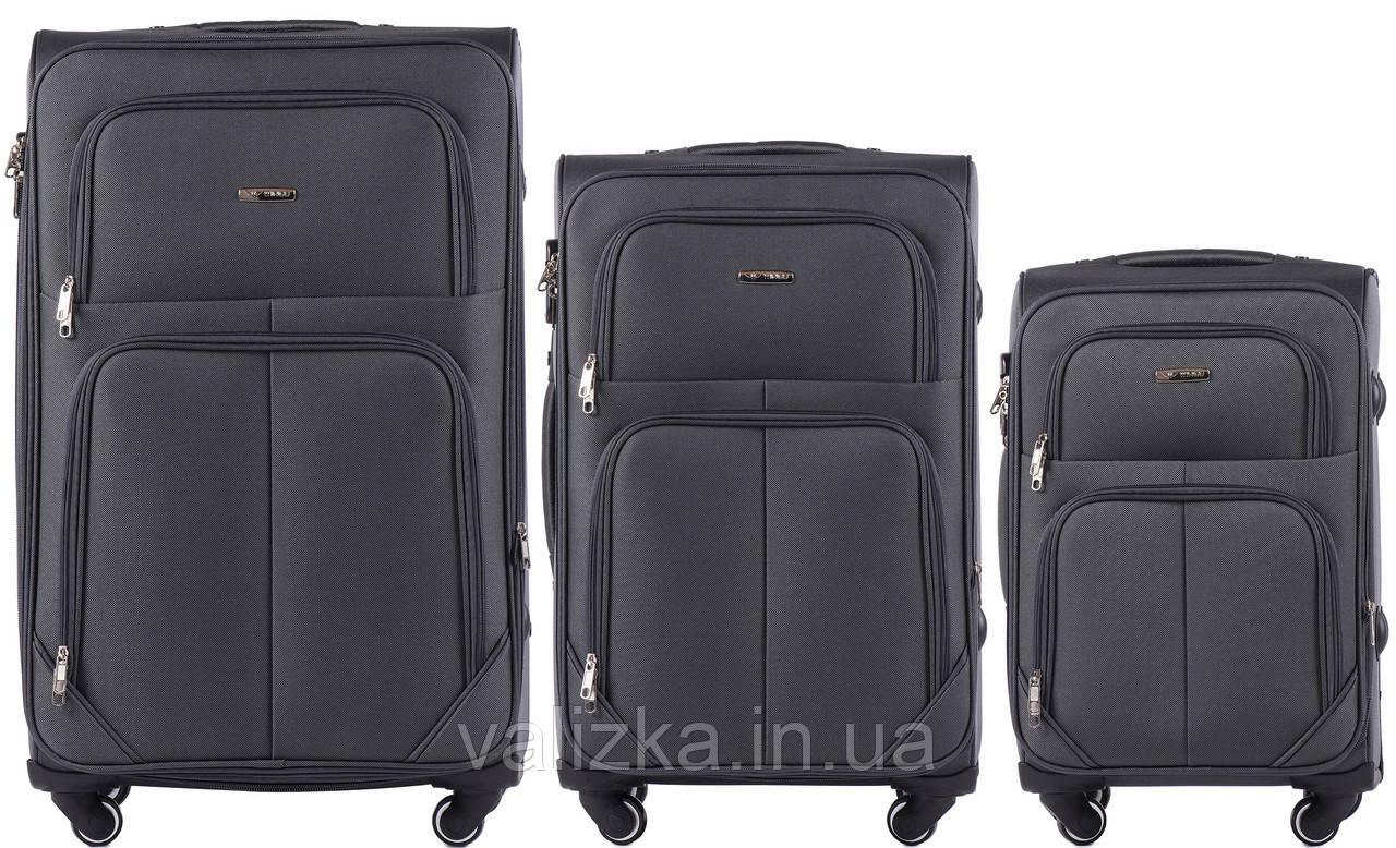 Комплект текстильных чемоданов на 4-х колесах Wings с расширителем, темно-серого цвета