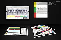 Набор комплект наклейки бирки для маркировки на силовые автоматы с иконками + маркер edding 140 S
