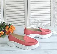 Коралові лофери туфлі на платформі, фото 1