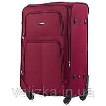 Комплект текстильных чемоданов на 4-х колесах Wings с расширителем, красного цвета, фото 3