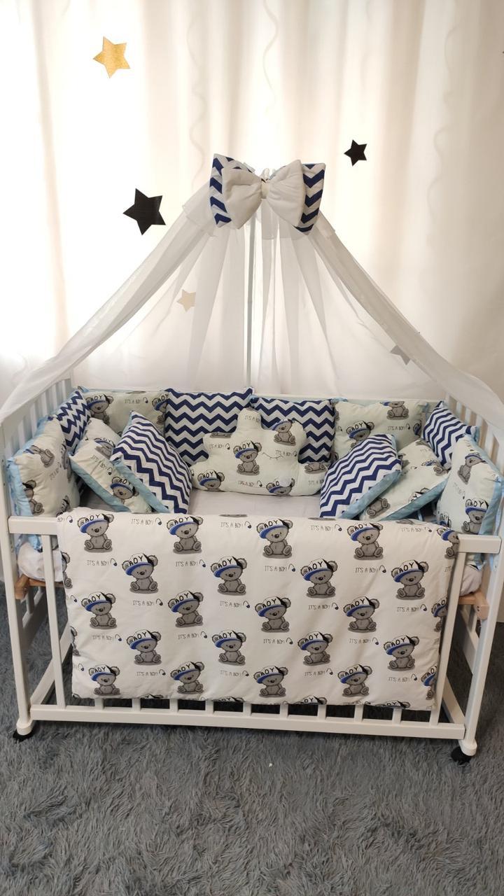 """Набір Дитячого постільної білизни Захист - бортики в ліжечко """"Тедді """""""