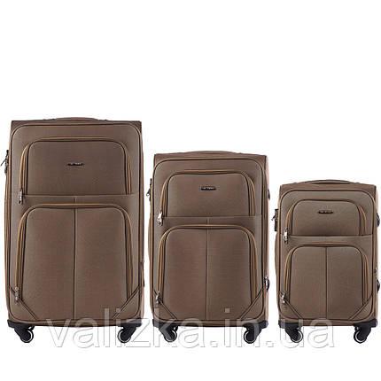 Комплект текстильных чемоданов на 4-х колесах Wings с расширителем,кофе с молоком, фото 2