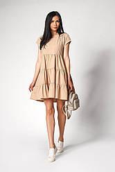 Женское свободное платье цвет: бежевый, желтый, кирпичный размер 42- 48