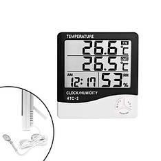 """Термометр гигрометр цифровой -50~70C ЖК 3.8"""" с внешним датчиком HTC-2"""