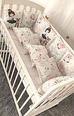 Комплект защиты в детскую кроватку квадратные подушечки (4 цвета ) розовый балерина