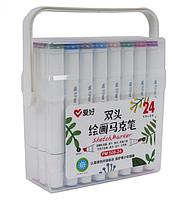 Набор двухсторонних фломастеров/скетч маркеров 24 шт/цветов, AIHAO PM-508-24  Sketch marker, фото 1