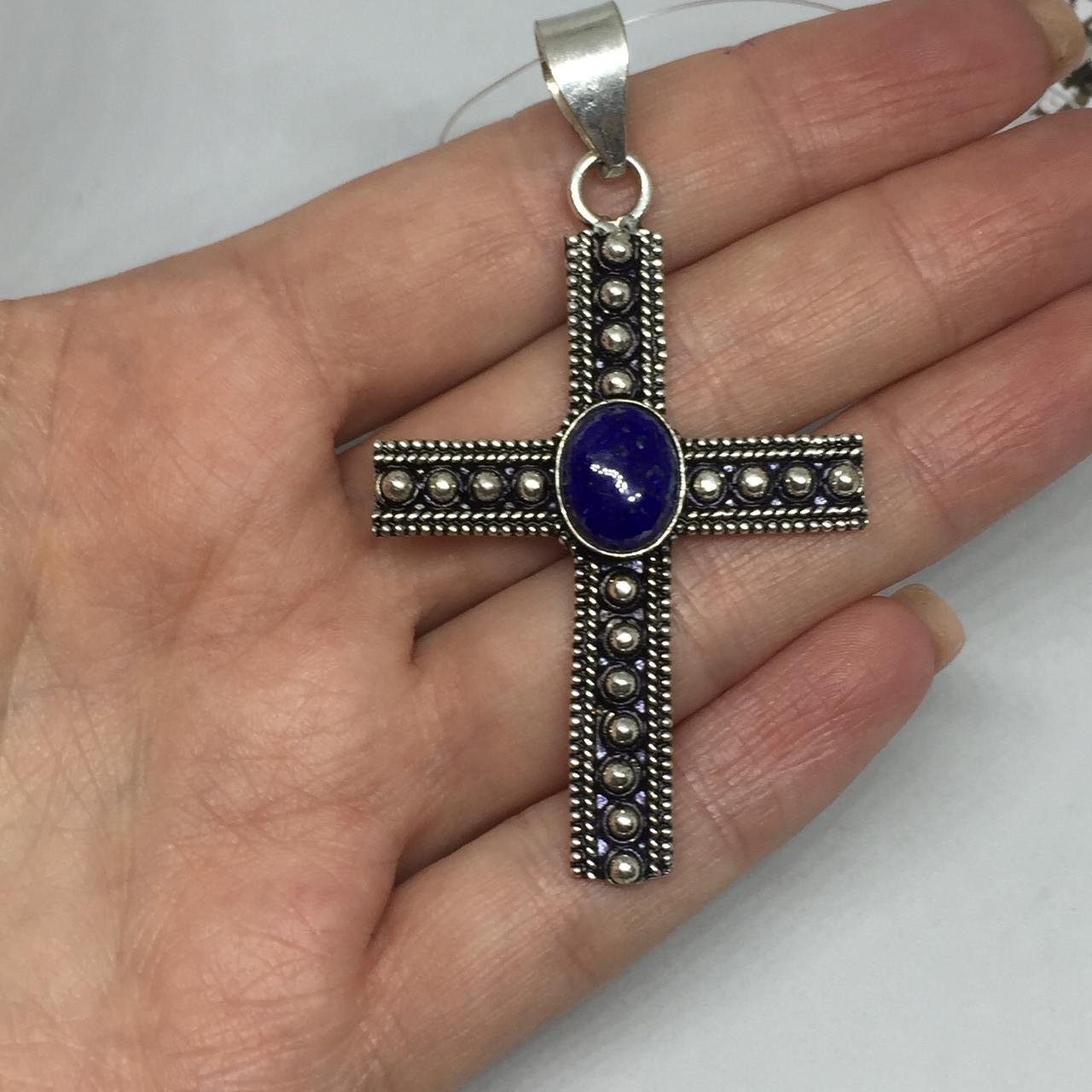 Лазурит кулон крест натуральный лазурит кулон с лазуритом в серебре Индия