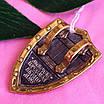 Мужской серебряный кулон с позолотой Георгий Победоносец на щите, фото 6