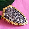 Мужской серебряный кулон с позолотой Георгий Победоносец на щите, фото 3