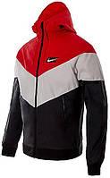 Ветровка Nike NSW WR JKT HD GX QS черно-красная AJ1396-658