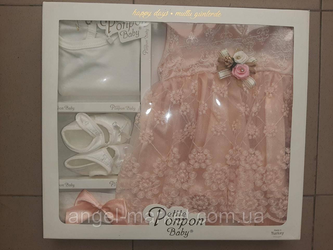 Набор для девочки из 4х предметов(боди с рукавом,платье,пинетки и повязка)3-6 мес