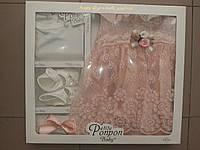 Набор для девочки из 4х предметов(боди с рукавом,платье,пинетки и повязка)3-6 мес, фото 1
