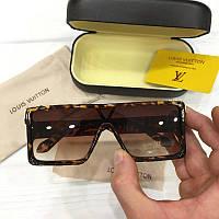 Женские солнцезащитные очкимаска Louis Vuitton реплика Коричневые в леопардовой оправе