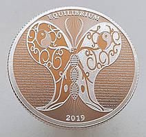 Токелау 5 долларов 2019 - Бабочка равновесия. Эквилибриум -  (Тройская унция серебра 999 проба.)
