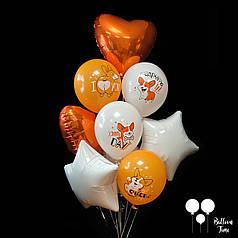 Связочка шаров со счастливыми собачками корги