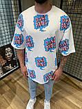 Мужская футболка оверсайз белая с ярким принтом, фото 2