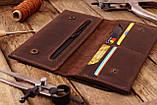 Мужское кожаное портмоне клатч mod.Nord коричневый, фото 5