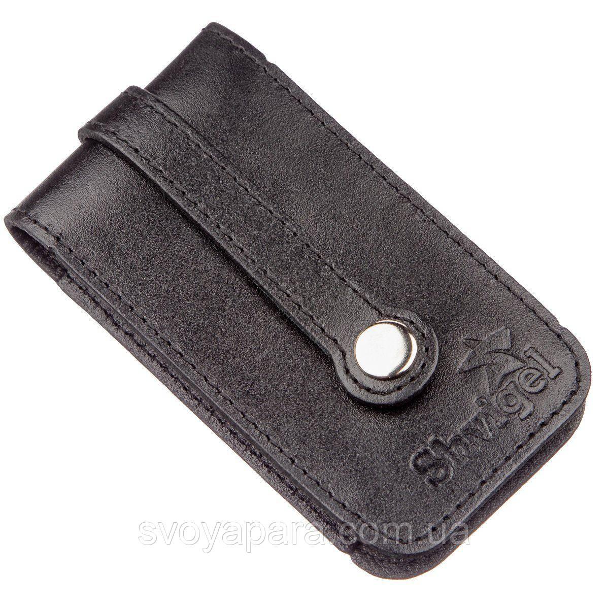 Компактная кожаная ключница SHVIGEL 13961 Черная