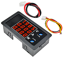 Цифровой вольтметр/амперметр/ваттметр DC 0-100В, 10А, 1000Вт - 3в1