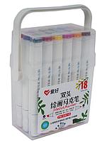Набор двухсторонних фломастеров/скетч маркеров  18 шт/цветов, AIHAO PM508-18 Sketch marker