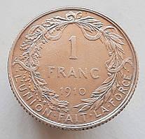 Бельгия 1 франк 1910 Серебро