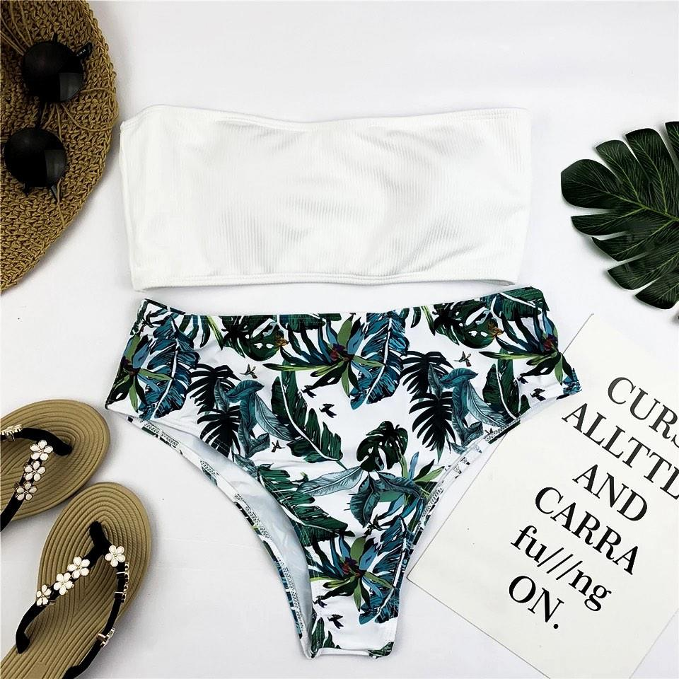 Белый купальник бандо + высокие плавки бразилиана S, M