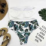 Белый купальник бандо + высокие плавки бразилиана S, M, фото 2