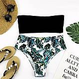 Белый купальник бандо + высокие плавки бразилиана S, M, фото 3