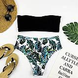 Белый купальник бандо + высокие плавки бразилиана S, M, фото 4