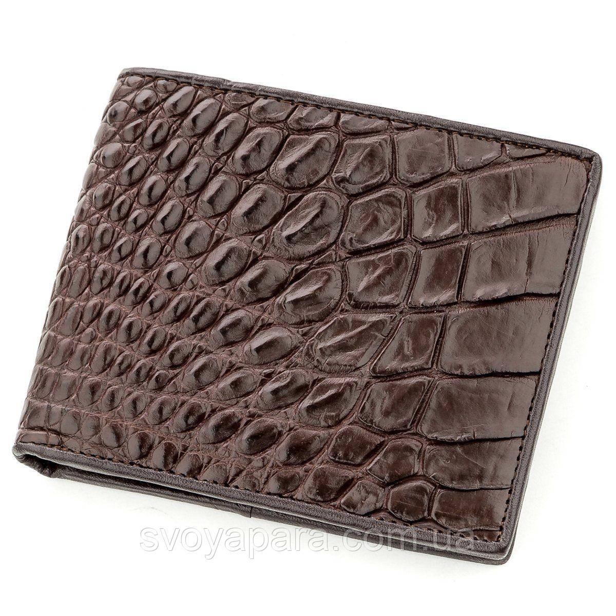 Бумажник мужской CROCODILE LEATHER 18577 из натуральной кожи крокодила Коричневый