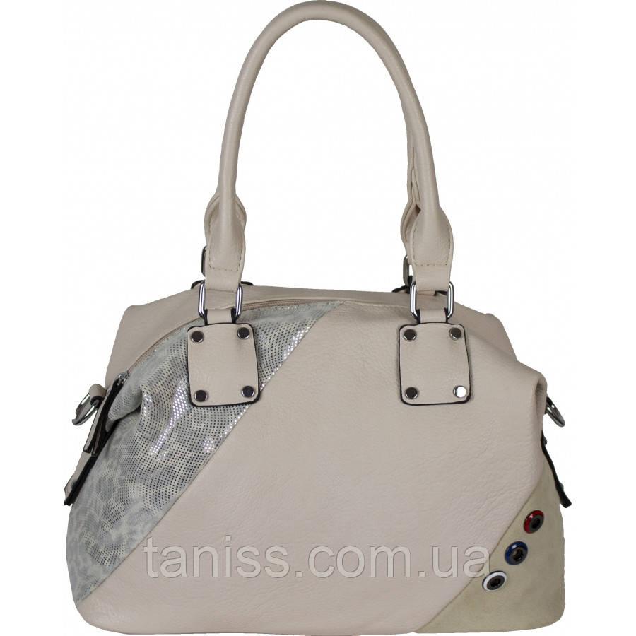 Женская стильная сумка , материал экокожа и искусственный замш, две ручки, одно отделение (8613-3) бежевый