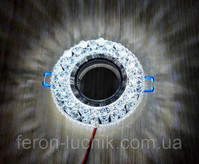 Светильник точечный с красивой подсветкой LED под натяжные потолки, гипсовые. Лампа сменная типа MR16.
