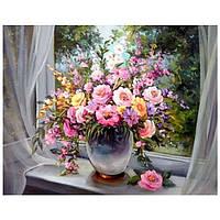 Картина по номерам на холсте Букет На Окне 40 х 50 с подрамником