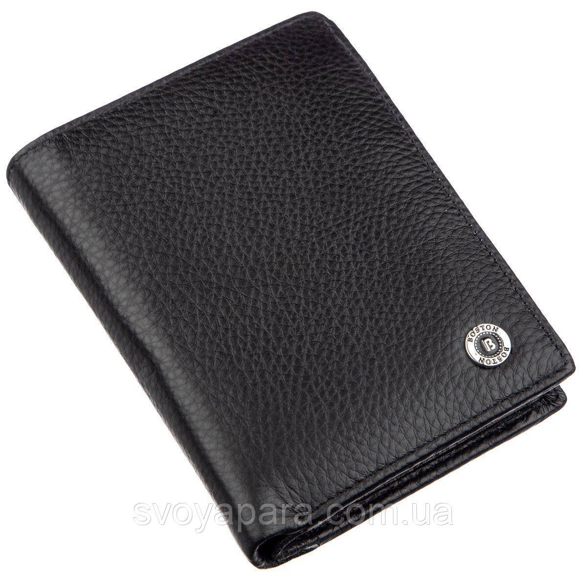 Мужской кожаный кошелек с монетницей Boston 18826 Черный