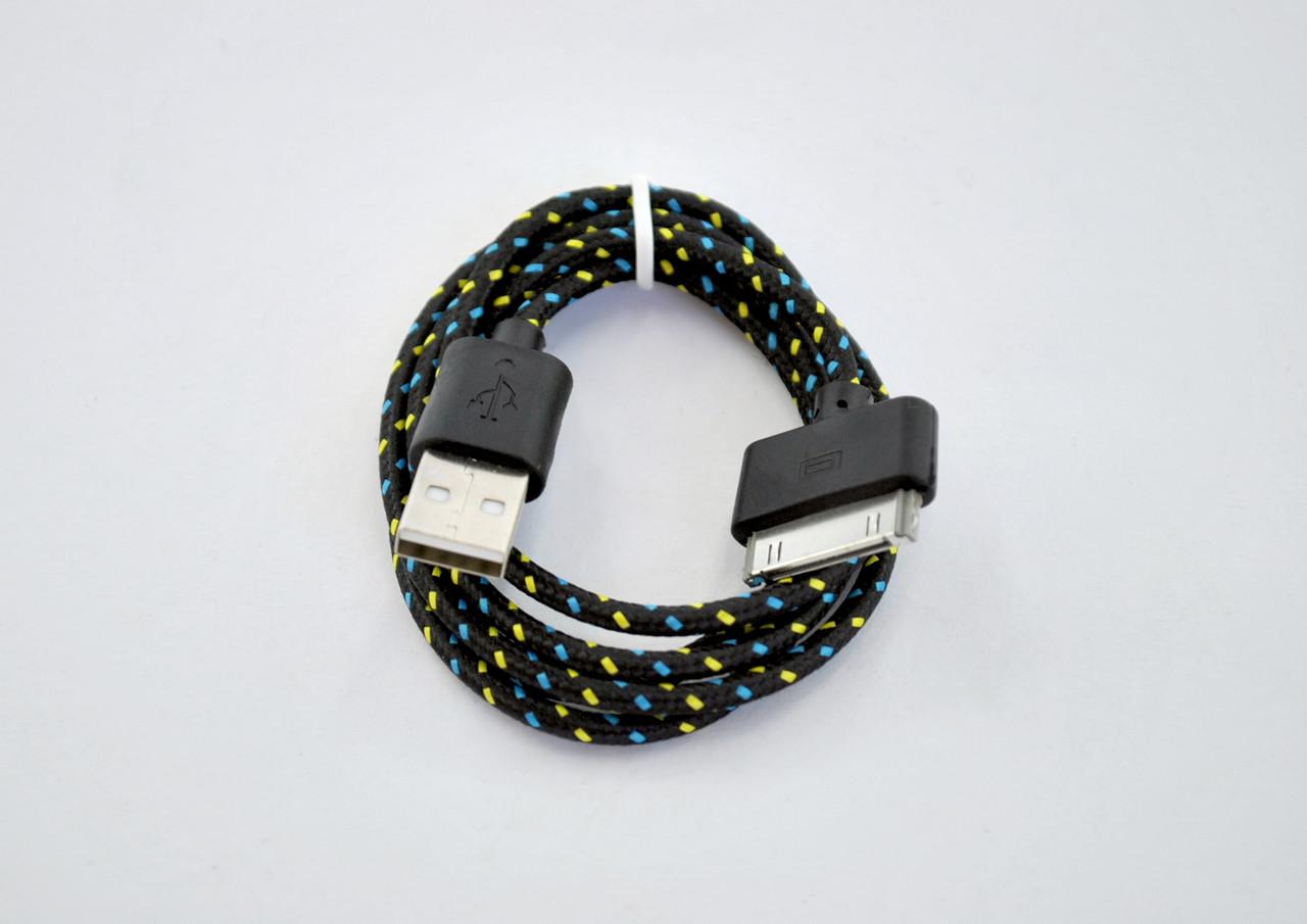 Кабель Usb-cable iPhone 4 4you DL-004 (Тканев. оплетка, Premium, 1m) черный