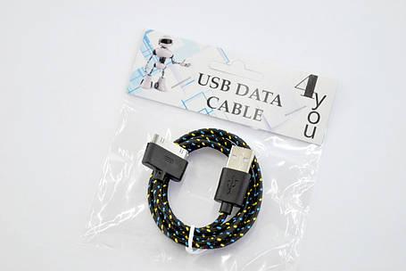 Кабель Usb-cable iPhone 4 4you DL-004 (Тканев. оплетка, Premium, 1m) черный, фото 2