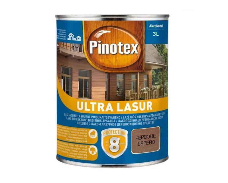 Лазурь-лак антисептический PINOTEX ULTRA LASUR для древесины полуматовый красное дерево 3л
