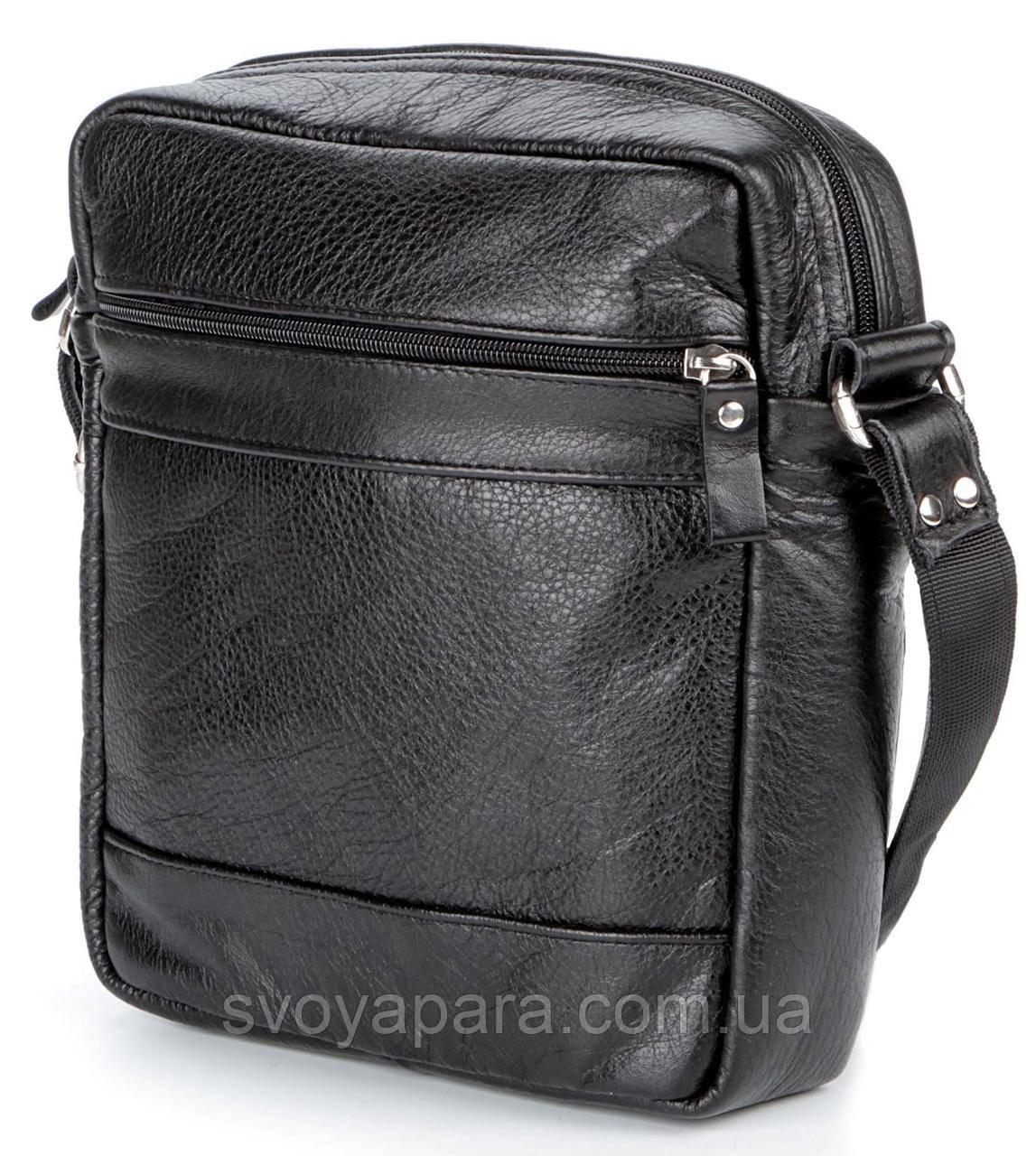 Элитная кожаная мужская сумка SHVIGEL 00791 Черная