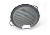 Сковорода-гриль кругла з двома литими ручками чавунна Сітон 26 см Г260, фото 1