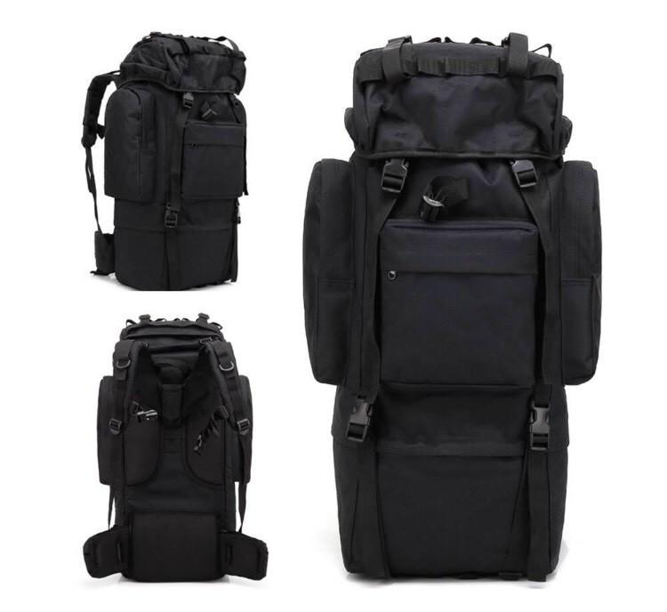Рюкзак туристический с дождевиком MHZ А21 70 л, черный