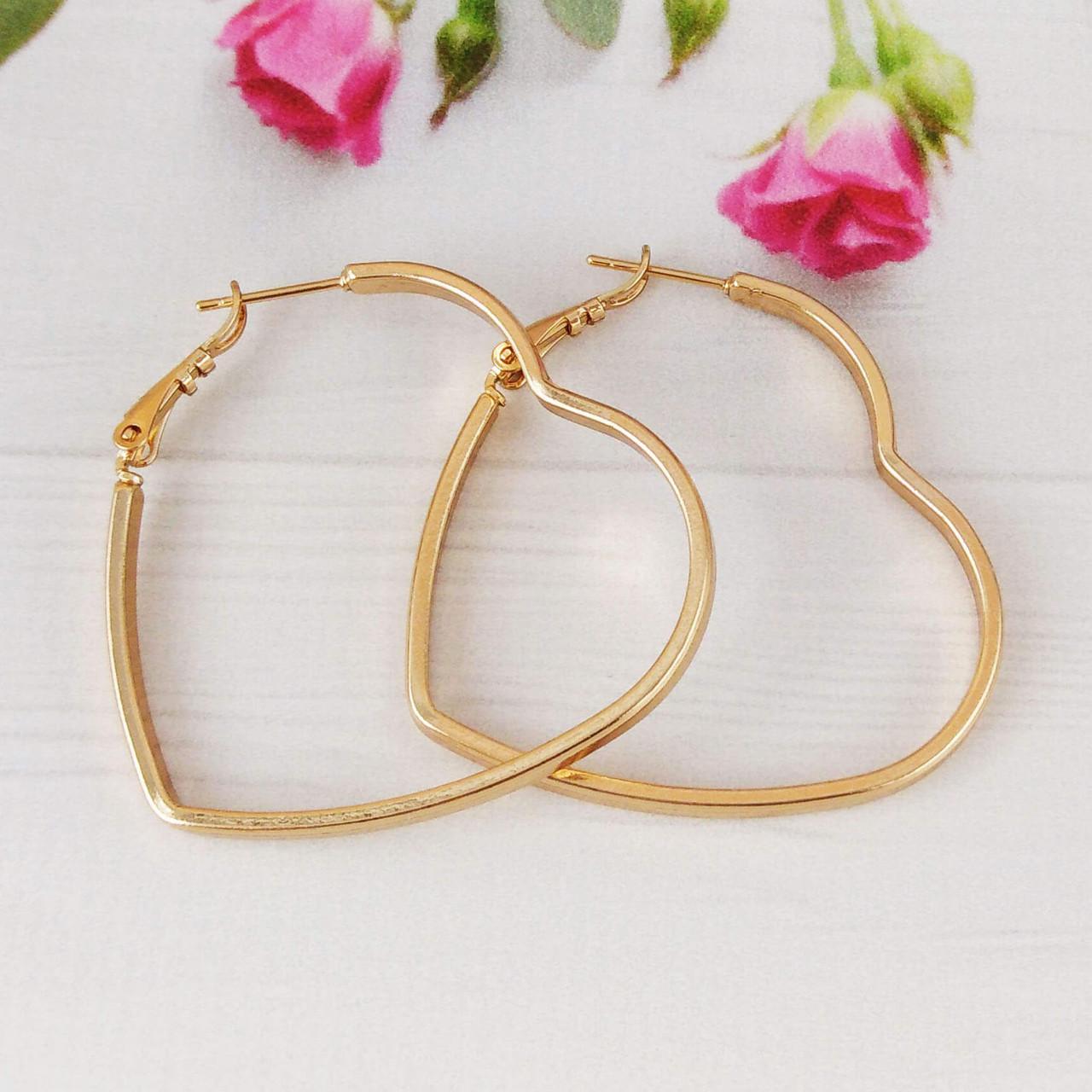 Серьги кольца Xuping Jewelry 46 мм Сердечки медицинское золото позолота 18К А/В 5770