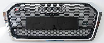 Решетка радиатора Audi Q5 FY (2017+) стиль RSQ5 (хром + черная сетка)