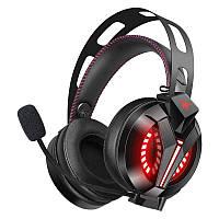 Игровые наушники  с микрофоном и LED подсветкой COMBATWING M180 черные геймерские, фото 1