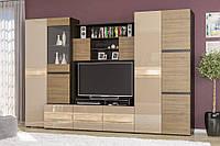 Гостиная стенка Мебель Сервис Гламур 198х300х57 см Венге темный   Дуб самоа   Орех селект темный, КОД: 1769345
