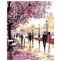 Картина по номерам на холсте Вишневый Цветущий Парк, Прогулка по Мосту 40 х 50 с подрамником
