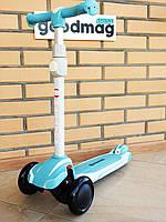 Самокат детский трехколесный Maraton Global New, колеса светятся Мятный
